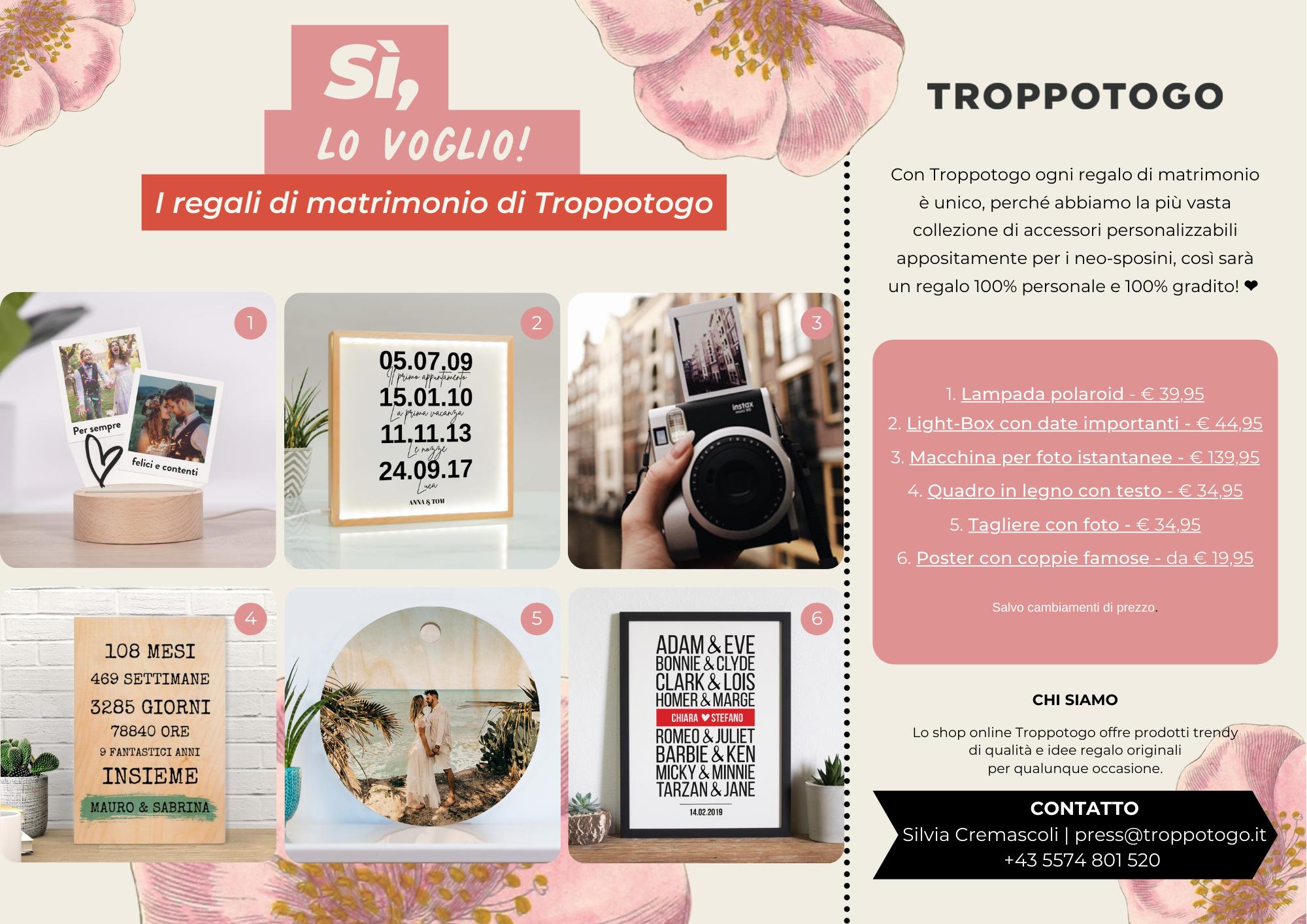 Comunicato Stampa Troppotogo - Regali di matrimonio 2021