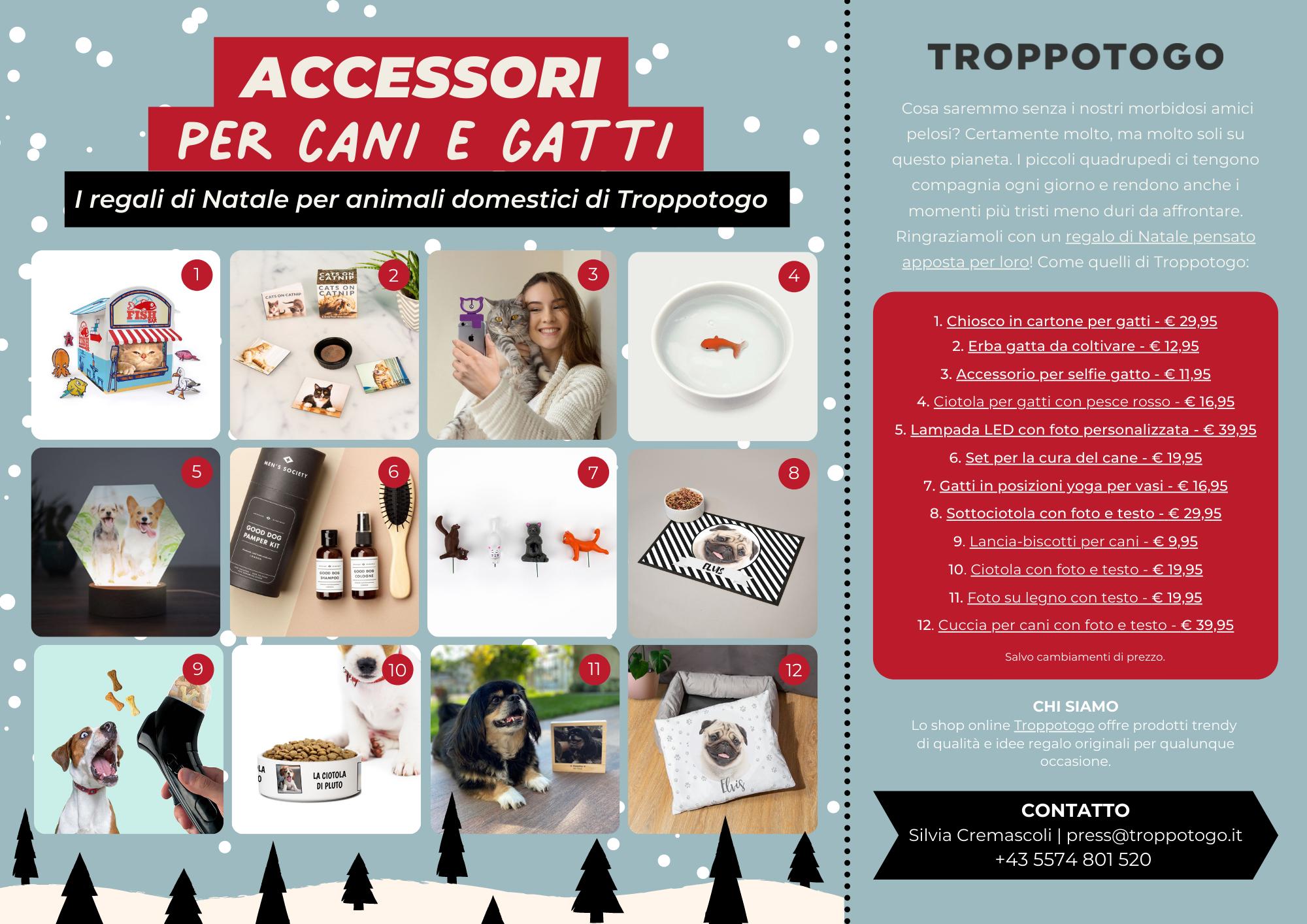 Comunicato Stampa Troppotogo - 12 regali di Natale per i tuoi animali domestici